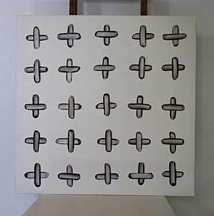 Éléments picturaux épinglées sur toile, acrylique sur toile découpée, 100 x 100 cm, 1996