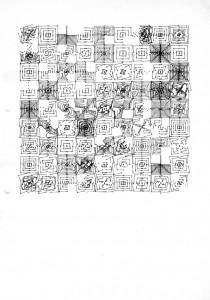 12-section C12, dessin à l'ordinateur, série trame et module, encre sur papier, 29,7 x 21 cm traceur Texas Instruments (plotter drawing), 1984
