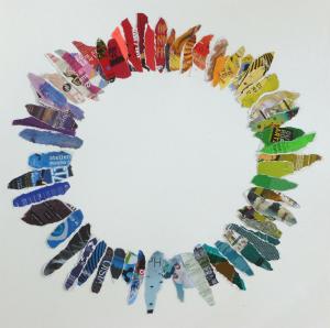 sans titre (actualité culturelle rennaise),flyers déchirés, épinglés sur toile, 100x100cm, 2012-2013