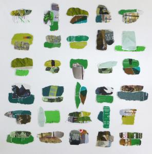 sans titre (actualité culturelle rennaise), flyers déchirés, épinglés sur toile, 100x100cm, 2012-2013