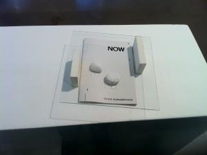 « Doing », acrylique sur verre, assemblage avec le livre d'artiste de Peter Downsbrough : « Now », éditions Incertain Sens, 2010. Ombre projetée, divers éléments, 2011