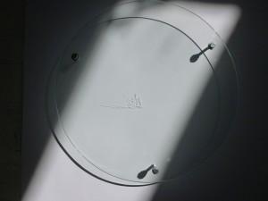 sans titre,, acrylique sur verre, source lumineuse, diffraction, ombre, diam. 30 cm, galerie Lara Vincy, 1999