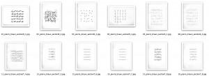 collection d'écritures (vue partielle), dessins réalisés à la table traçante, encre sur papier, 30 x 21 chaque, 2010-2011