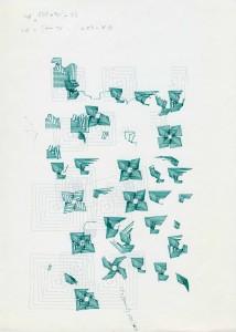 spi60,dessin à l'ordinateur, série trame et module (1984), encre sur papier, 29,7 x 21 cm traceur Texas Instrument (plotter drawing)