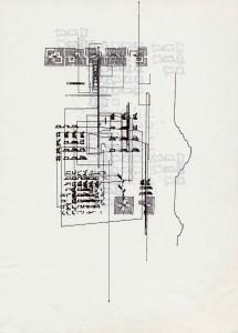 spi9,dessin à l'ordinateur, série trame et module), encre sur papier, 29,7 x 21 cm traceur Texas Instruments (plotter drawing), 1984