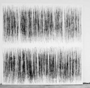 Sans Titre (oscillations), 2012, Acrylique et craie noire sur toile, 150 x 150 cm